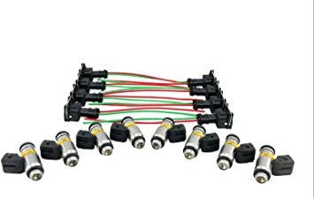 harley fuel injection wiring harness amazon com set of 8 fuel injectors   harness pigtail kit for  fuel injectors   harness pigtail
