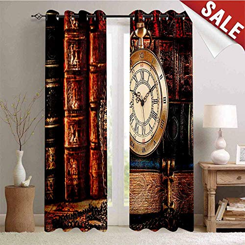 Hengshu Thermal Insulating Blackout Curtain Nostalgic Classic Pocket Watch on The Background of Old Books Dated Archive Photo Blackout Draperies for Bedroom W96 x L108 Inch Multicolor