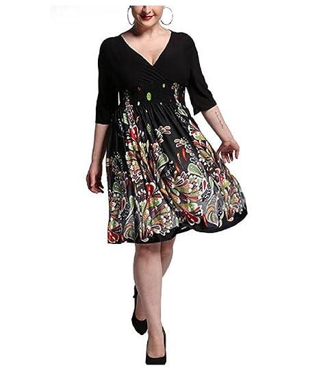 0fb1292bee Amazon.com  DH APPLE Plus Size Print V Neck Wrap Skater Dress (L ...