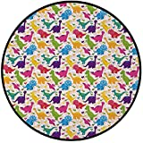 Printing Round Rug,Kids,Cute Dinosaurs Pattern Baby Childish Playroom Nursery Toddler Wild Caricature Design Mat Non-Slip Soft Entrance Mat Door Floor Rug Area Rug For Chair Living Room,Multicolor