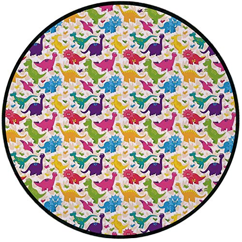 Printing Round Rug,Kids,Cute Dinosaurs Pattern Baby Childish Playroom Nursery Toddler Wild Caricature Design Mat Non-Slip Soft Entrance Mat Door Floor Rug Area Rug For Chair Living Room,Multicolor ()