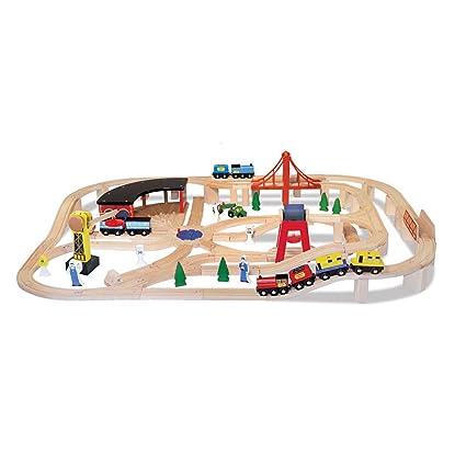 Amazon.com: Melissa & Doug Deluxe Wooden Railway Train Set (130+ pcs ...