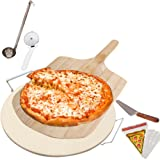 Pizza Stone Supplies Set for Cooking Baking Grilling - Includes Round Pizza Stone with Rack, Wooden Pizza Peel, Pizza Slicer, Pizza Server and Sauce Ladle - Free Bonus 12 Pizza Bags