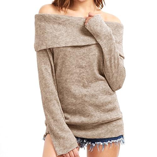 Mujeres de hombro Chunky Sweater Jersey de manga larga jersey de punto Blusa de punto