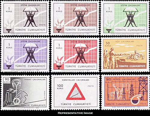 Turkey Scott 1804-1812 1k, 1k,1k,1k, 1k, Educational Progress, 50k Agricultural Progress, 90k Industry, 100k Road Sign and 180k Oil Industry. Mint never hinged.