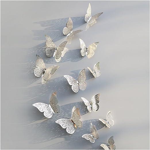 Extsud 12 Pcs DIY 3D Papillons Stickers Muraux Stiker Mural Autocollants Maison D/écor Style Moderne Bricolage Art Papillon Home D/écoration avec Cristal Central pour Garderie,Salon,Chambre,B/éb/é,Enfant