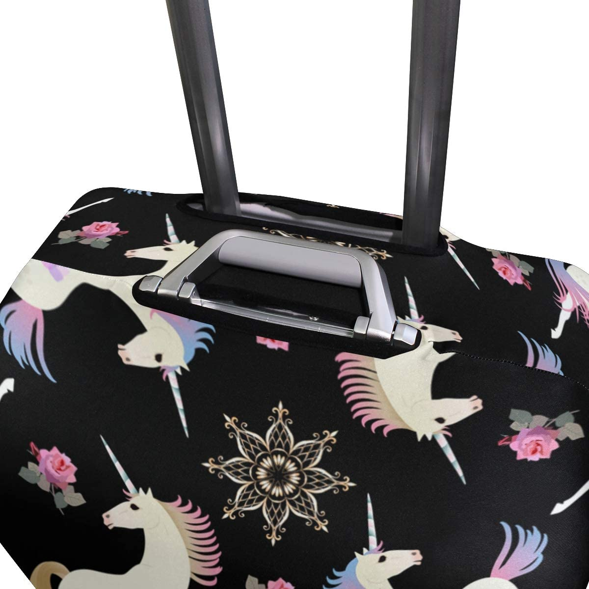 FOLPPLY Unicorn Horse Rose Pattern Luggage Cover Baggage Suitcase Travel Protector Fit for 18-32 Inch