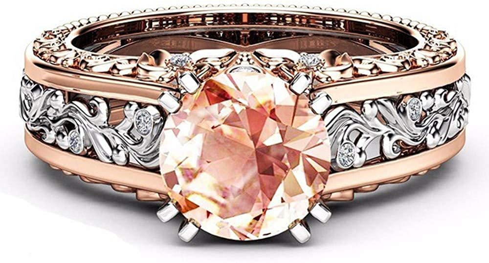 ⭐LIM/&SHOP⭐ Womens Ring Silver /& Rose Gold Filed Wedding Engagement Floral Rings Band 925 Sterling Silver Proposal Gift