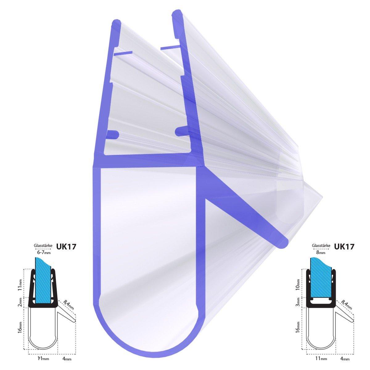steigner 80 cm Junta de repuesto para 5 mm/6 mm/7 mm/8 mm grosor del cristal deflectores de agua Ducha Junta uk17 72648 –  Cabina de ducha 51483714