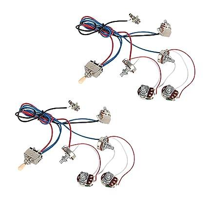 amazon com kmise electric guitar wiring harness kit 2v2t pot jack 3amazon com kmise electric guitar wiring harness kit 2v2t pot jack 3 way switch for gibson les paul lp parts 2 pcs musical instruments
