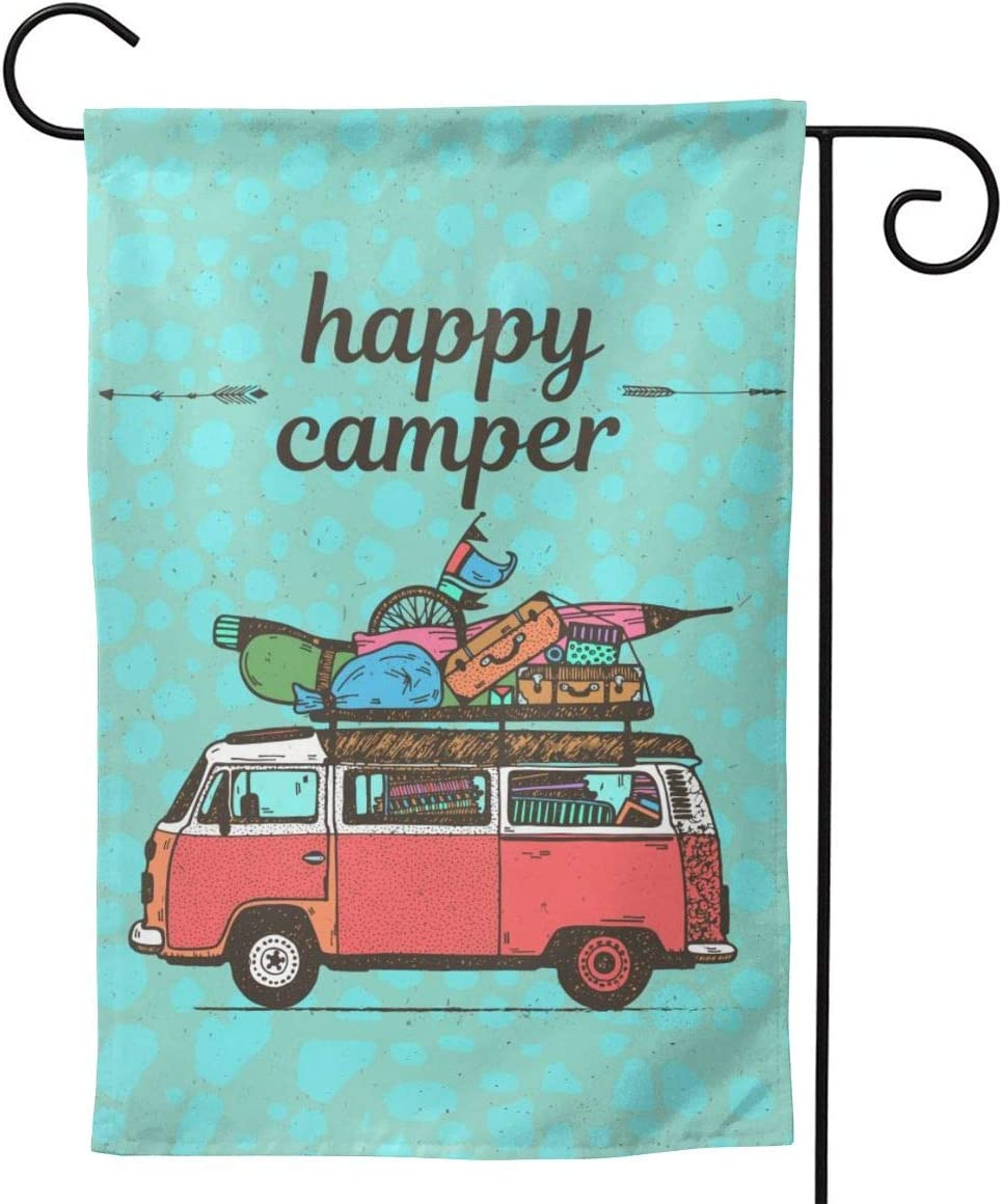 YISHOW Happy Camper Garden Flag Double Sided Vertical Camping Flags House Flags Yard Signs Outdoor Decor 12.5