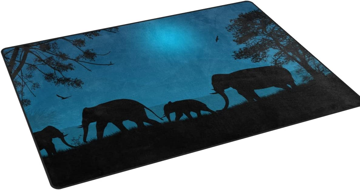 Sunlome Elephants Silhouette in Africa Pattern Area Rug Rugs Non-Slip Indoor Outdoor Floor Mat Doormats for Home Decor 31 x 20 inches