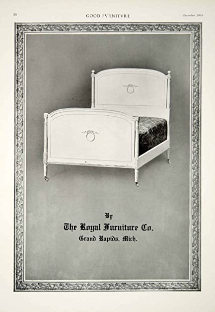 1915 Ad Vintage Bed Headboard Royal Furniture Company Grand Rapids Michigan  GF5   Original Print Ad