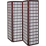 Alitop Cherry 4 Panel Room Divider Screen Oriental Style Shoji Solid Wooden Screen