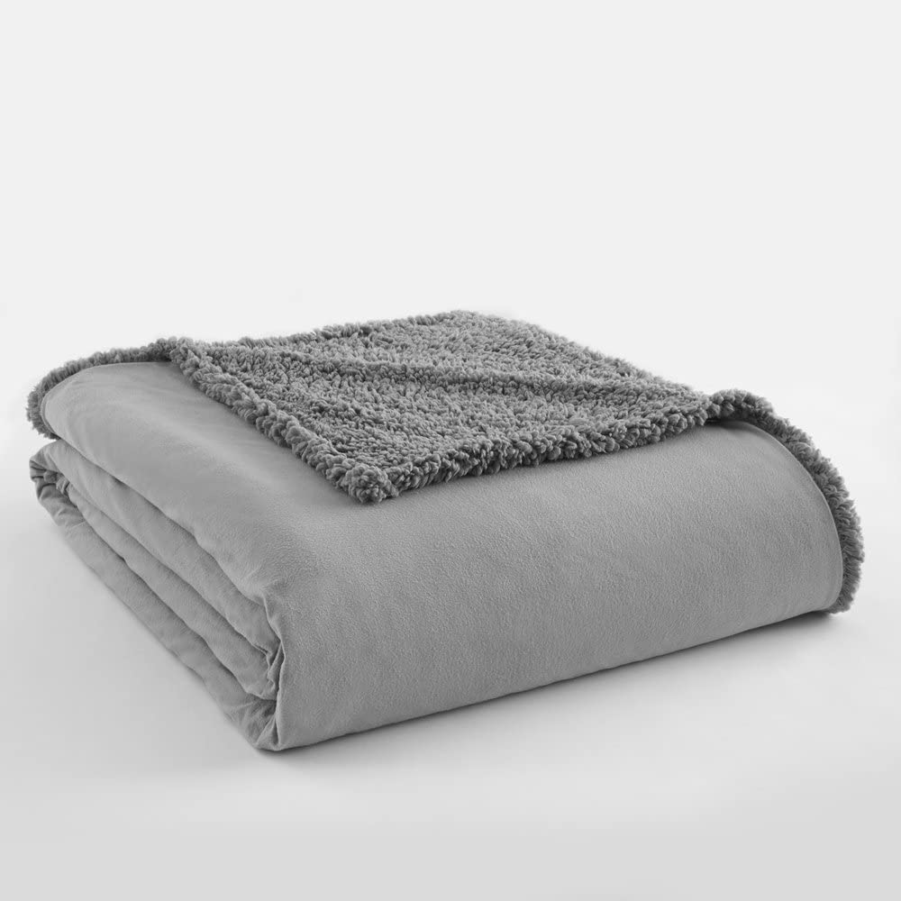 Shavel Home Products Bedding Micro Flannel to Greystone Sherpa Blanket Full/Queen