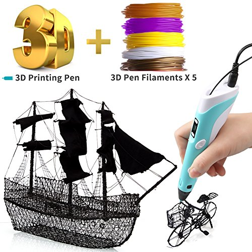3D Printing Pen for Kids,3D Drawing Printer Pen DIY Pencil with 5 Color PLA Filaments Refills,LCD Display Screen Intelligent Low Temperature Control for Doodle Model Making Arts and Crafts(50M)