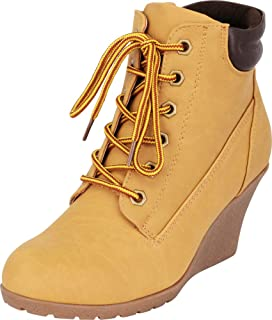 bf023d4c8b1 Cambridge Select Women s 90s Padded Collar Work Wedge Lace-Up Ankle Bootie