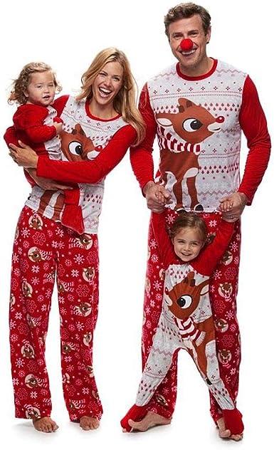 Pijamas de Navidad Familia, Ropa de Noche Homewear Algodón Camisas de Manga Larga + Pantalones Largos Sudadera Invierno Conjunto de Pijamas Familiar ...