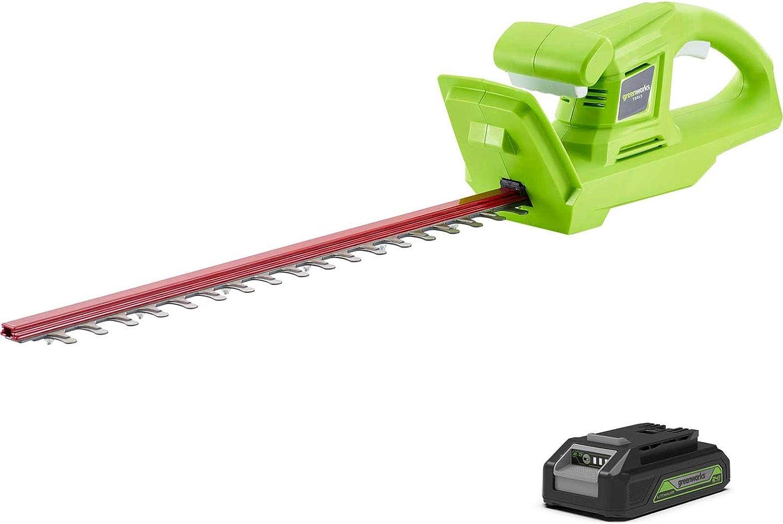 Greenworks G24HT 24v Cordless Hedge Trimmer 510mm 1 x 2ah Li-ion