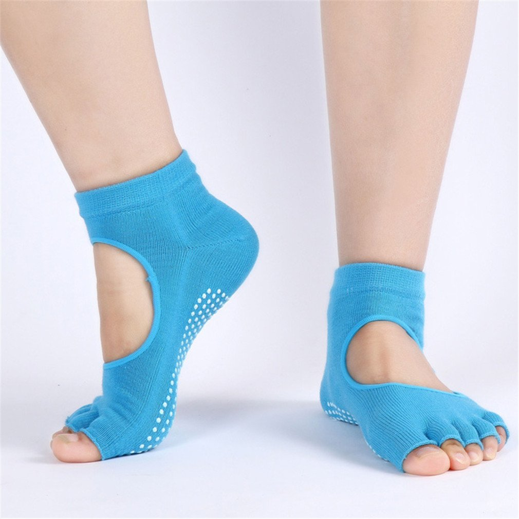 GuangqiレディースノンスリップToeless Socksソックス、つま先安全特別設計のヨガ、Barre、ピラティス As description ブルー 84 B07798CVVS  ブルー