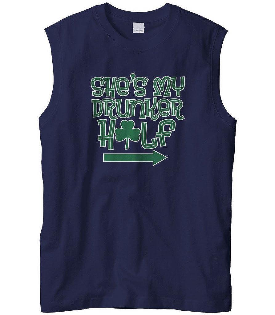 Cybertela Mens Couples Shes My Drunker Half Clover Sleeveless T-Shirt