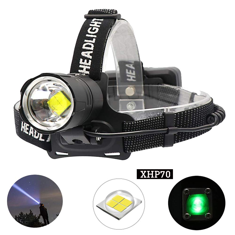 BESTSUN CREE XHP70 LED Headlamp Rechargeable, 10000 Lumen Headlamps Flashlight High Lumens Zoomable Headlight Brightest Head Torch for Working Caving Hunting by BESTSUN