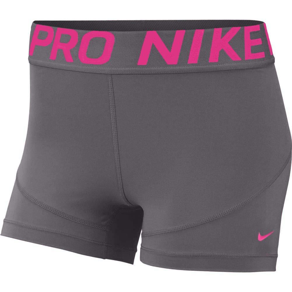 Nike Women's Pro 3'' Training Short (Gunsmoke/Laser Fuchsia, X-Large) by Nike