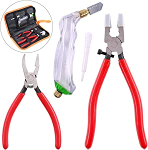 Swpeet 3Pcs Heavy Duty Glass Running Pliers, Breaker Grozer Pliers and Grip Oil Feed Glass Cutter Kit, Professional Stained Glass Cutting Tool with Extra Rubber Tips Perfect for Stained Glass Work
