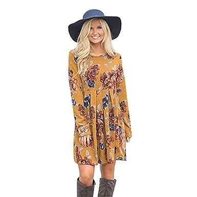 Packitcute Robes Vintage pour Femmes Fleur Impression Manches Longues  Plissée Midi Robe Coton Années 80 Automne (Jaune)  Amazon.fr  Vêtements et  accessoires bc6955f489ce