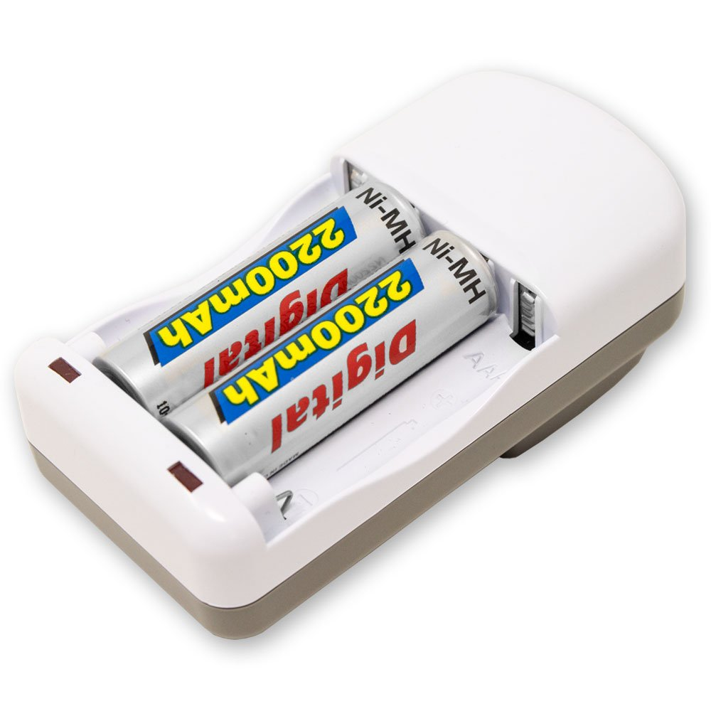 4 Bay AA, AAA, Ni-MH, Rechargeable Battery Charger with 12 AA NiMH Rechargeable Batteries
