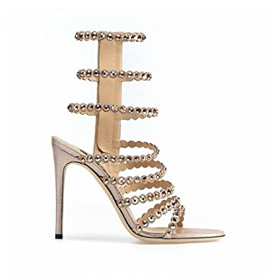 02eff3ddf9 Sergio Rossi Sandals, Luxury Italian High Heels for Women, Open Toe Strappy  Sandal, Glass Crystal Detail, 105mm, Suede & Metallic Leather, Made in Italy