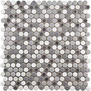 3 4 X 3 4 Penny Round Grey Glossy Finish Porcelain Mosaic 11 Pcs