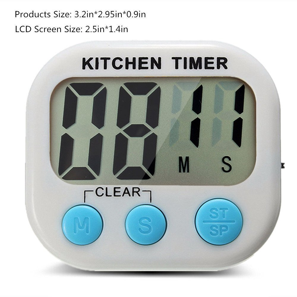Great Polly 3 Pack Digital Kitchen Timer Cooking Timers Clock with Alarm Magnetic Back and Stand, Minute Second Count Up Countdown, Large LCD Display Batteries Included by Great Polly (Image #4)