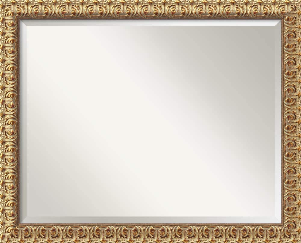 Amanti Art Framed Mirrors for Wall   Florentine Gold Mirror for Wall   Solid Wood Wall Mirrors   Medium Wall Mirror 31.50 x 25.50 in.