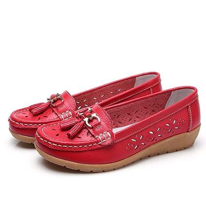 Mujer Zapatos Planos Hueco De Cuero Flor Soft Único Ligero Slip-On Mocasines Bajo El