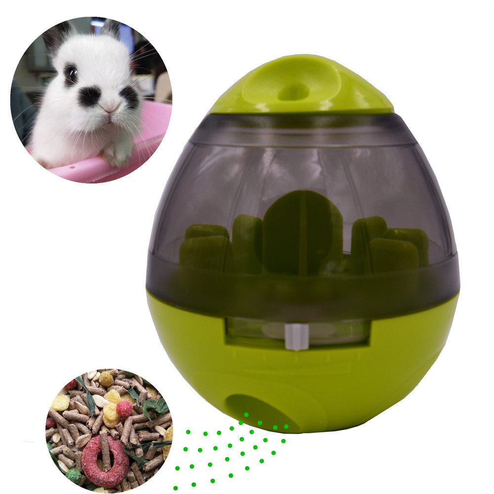 Pet Bunny Food Ball Toy Feeder for Dog Cat Rabbit Chinchillas Small and medium Animals (Green, Ball)