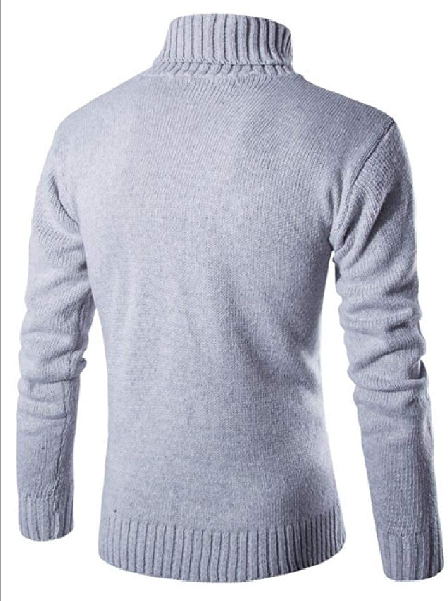 YIhujiuben Mens Casual Warm Turtleneck Slim Fit Knitting Solid Pullover Sweaters
