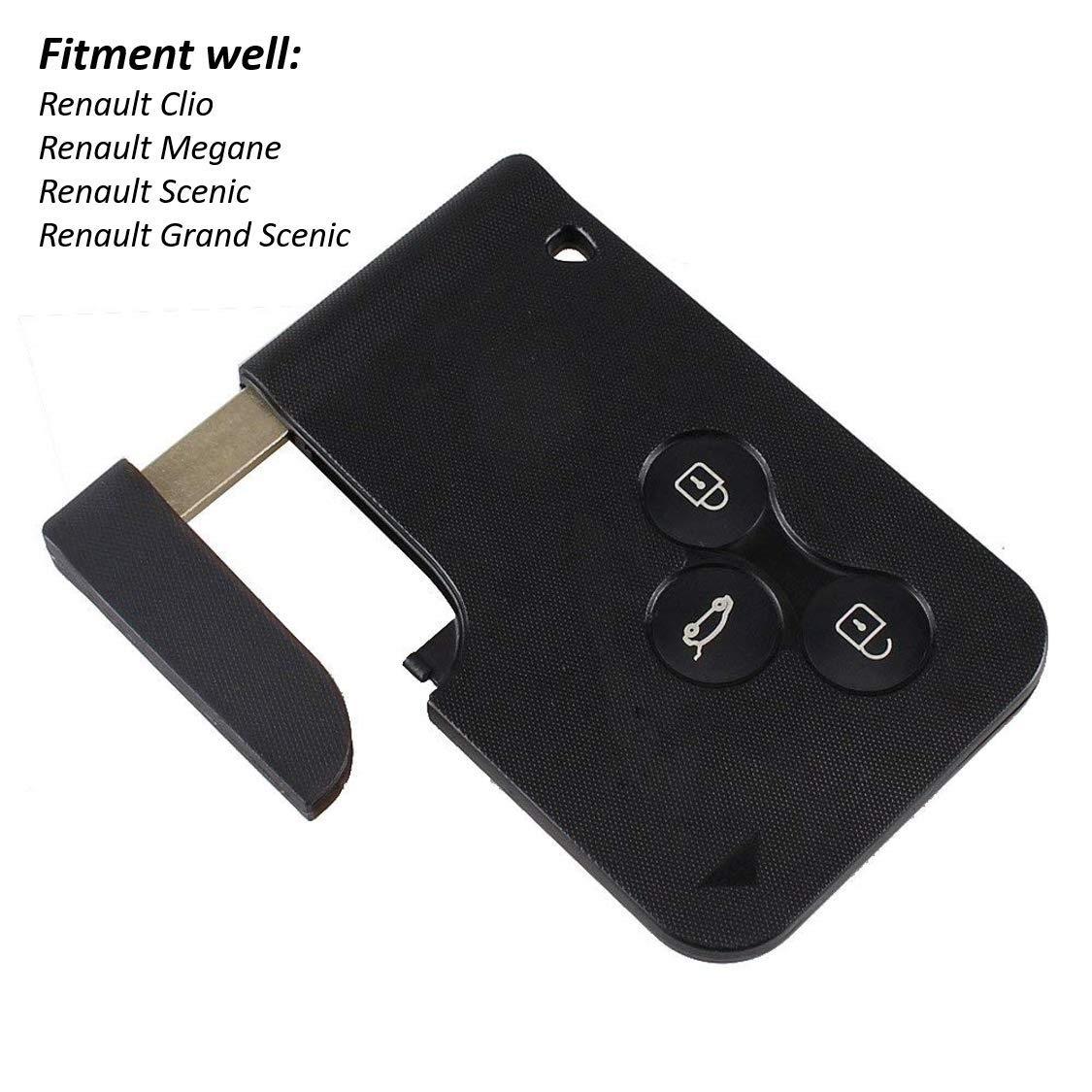 Remote Key Case Fob cubre el reemplazo de tarjeta llave de 3 botones Scenic Gran Key