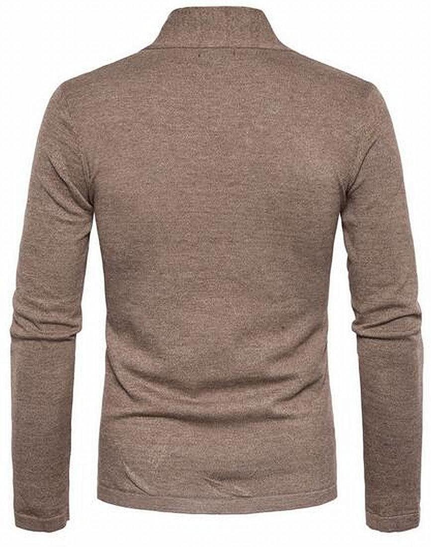 xtsrkbg Men SlimFit V Neck Long Sleeve Open Front Knit Sweater Cardigan