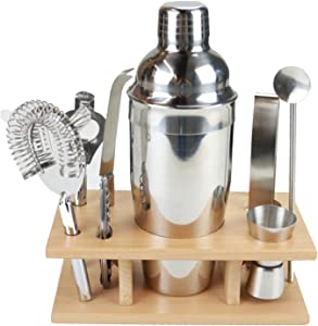 Premium Cocktail Shaker Bartender Kit - Stainless Steel Home Bar Tools Set (9pc Bar Accessories): Cocktail Strainer, Martini Shaker, Double Jigger,Bar Spoon, Bottle Opener, Wine opener| Drink Mixing
