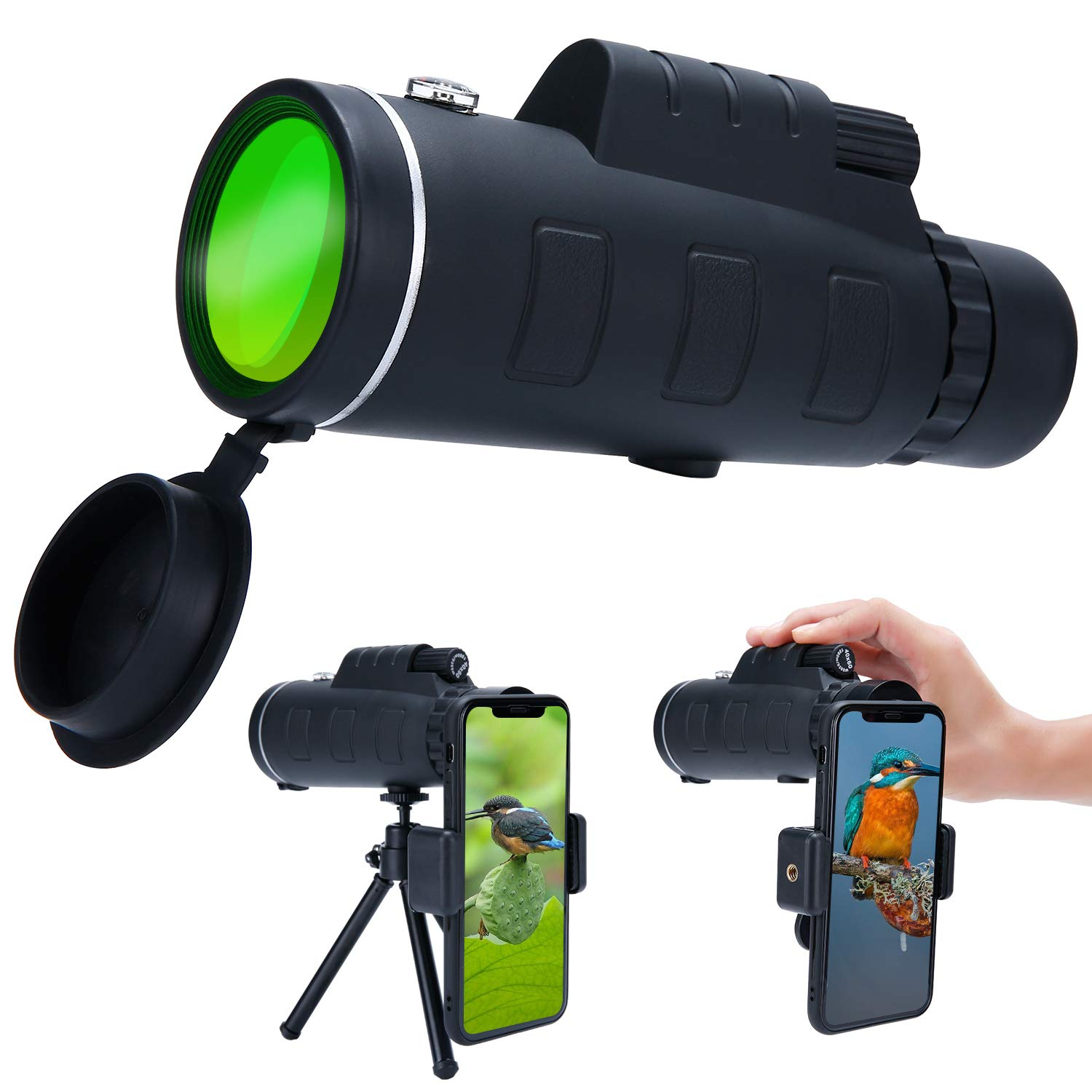 Super Clear 40x60 Monocular Telescope, High Powered High Optical Monocular with Dual Focus Zoom, Portable Waterproof  Fogproof for BirdWatching, Traveling, Hunting, Camping, Outdoors Climbing
