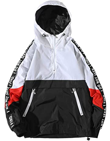 039713af0 ONTTNO Mens Pullover Hooded Waterproof Lightweight Windbreaker Jackets