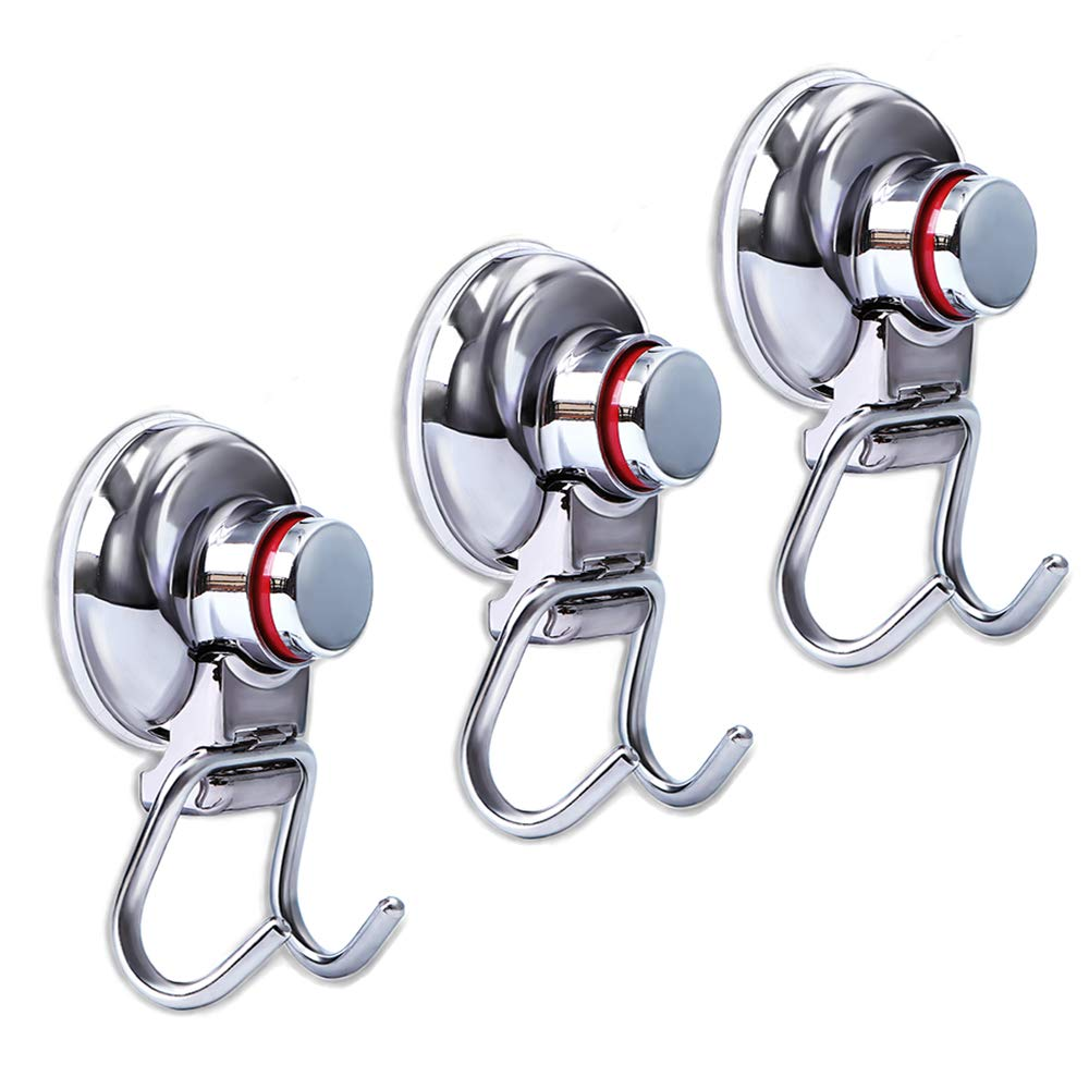 Suction Cup Hooks Heavy Duty Vacuum Hook, Wall Suction Hooks for Flat Smooth Wall Bathroom Kitchen Towel Robe Loofah -Stainless Steel Chrome ( Pack of 3 )