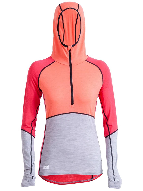 Ski Underwear Women Mons Royale Merino Bella Coola Zip Hood Tech Tee LS