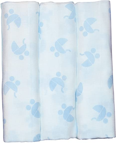 Pekebaby Gasas Muselina Algodón Estampadas (60 x 60 cm)(pack 3) COCHECITO azul: Amazon.es: Bebé