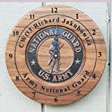 Personalized Army National Guard retirement wall clock veterans gift.