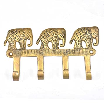 Indianshelf 4 piezas hecho a mano hecho a mano artística bronce latón Ganesha toallas de abrigos