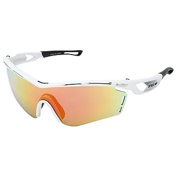 CICMOD Gafas de Sol Polarizadas con 3 Lentes Intercambiables para Hombres y Mujeres, Ciclismo,