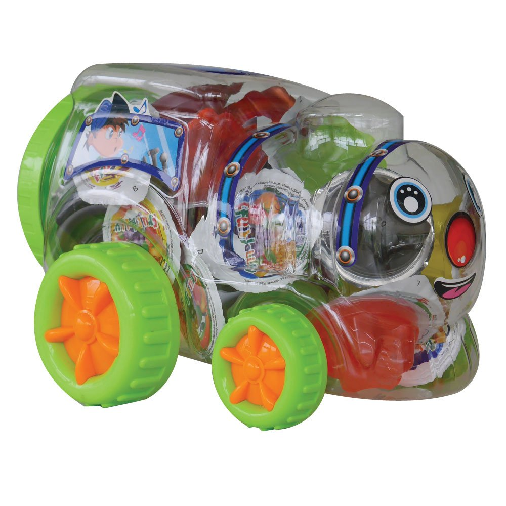 Yummmy Jelly, Car Toy shape jar, with Assorted Fruit Flavors Jelly Cups Jar 36 oz, kosher certified