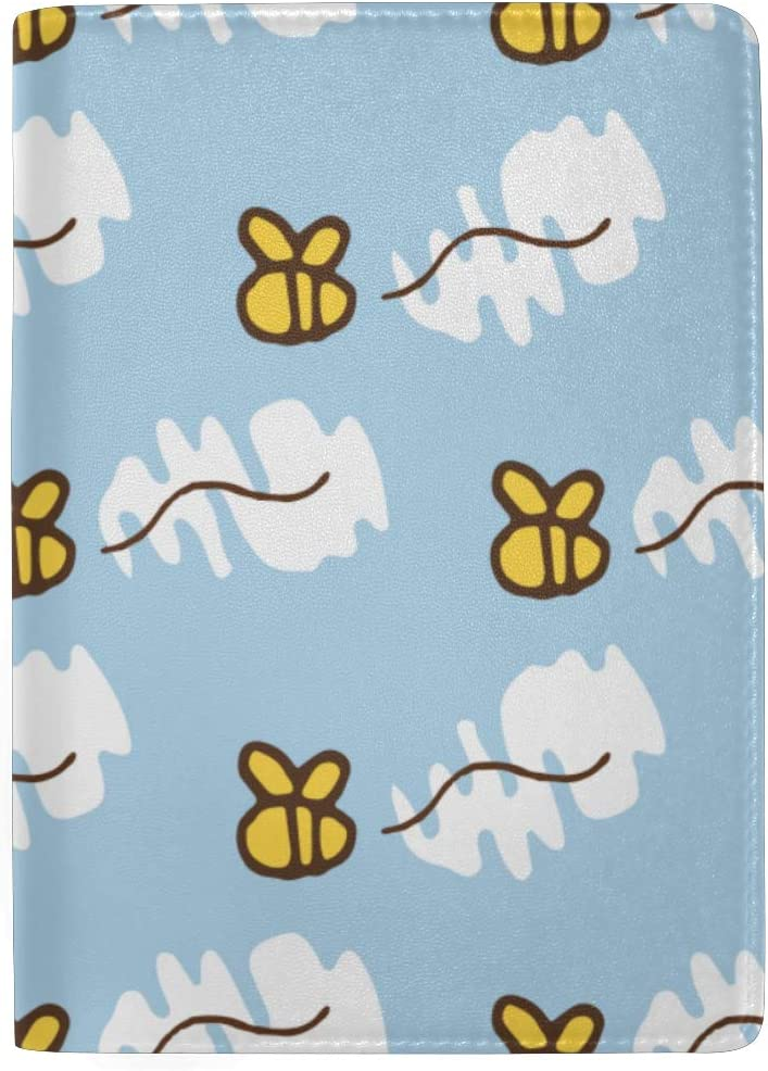 Cute Passport Cover For Women Cartoon Doodle Cute Bees Stylish Pu Leather Travel Accessories Family Passport Cover For Women Men